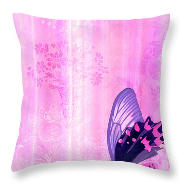 Pink and Purple Butterfly Companions 2 Throw Pillow by JQ Licensing
