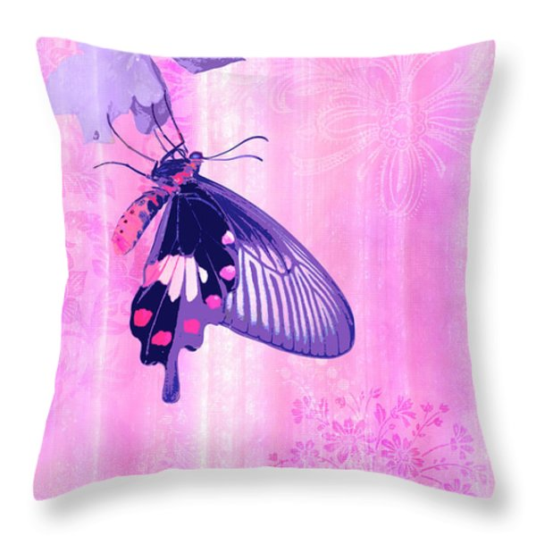 Pink and Purple Companions 1 Throw Pillow by JQ Licensing
