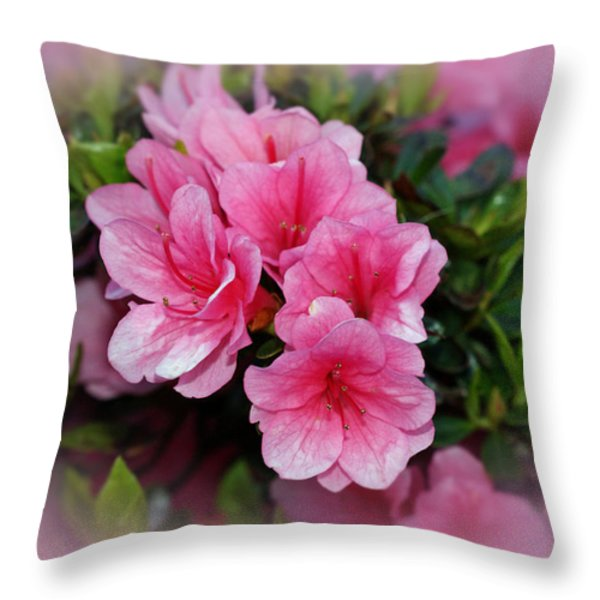 Pink Azaleas Throw Pillow by Sandy Keeton