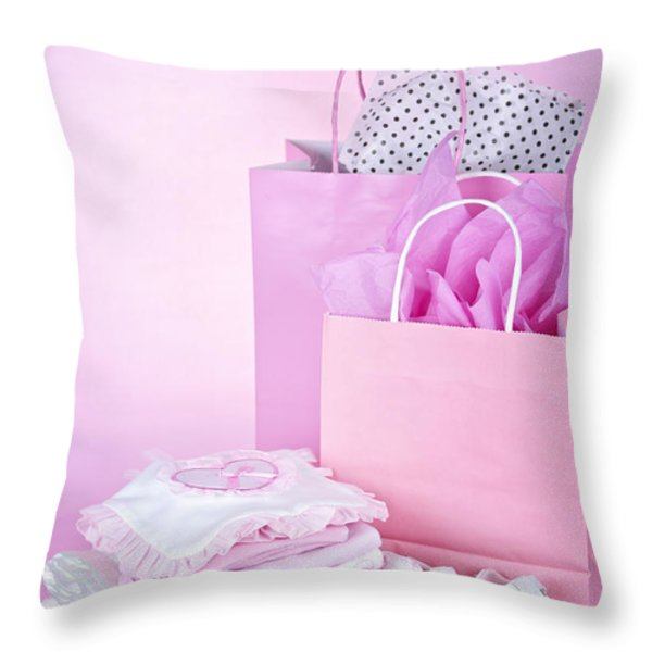 Pink Baby Shower Presents Throw Pillow by Elena Elisseeva