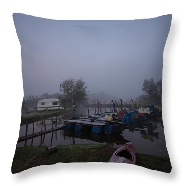 Pink Canoe Throw Pillow by Dawn OConnor