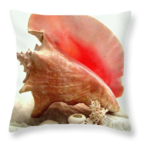 Pink Cong Shell Throw Pillow by Danielle  Parent