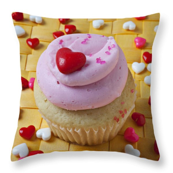 Pink Cupcake With Candy Hearts Throw Pillow by Garry Gay