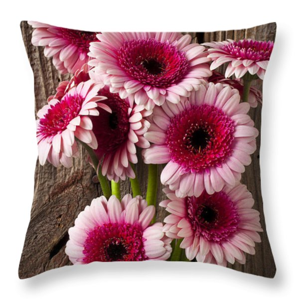 Pink Gerbera Daisies Throw Pillow by Garry Gay