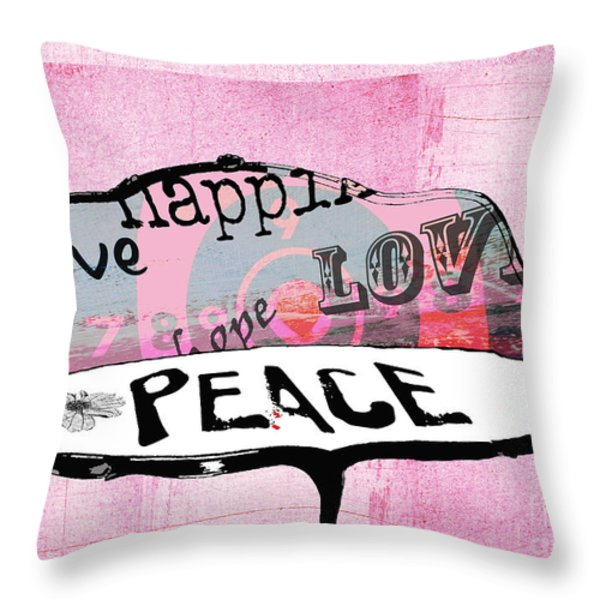 Pink Love Chair Throw Pillow by Anahi DeCanio