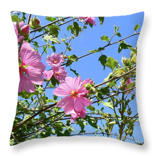 Pink Musk Mallow Throw Pillow by Pamela Patch