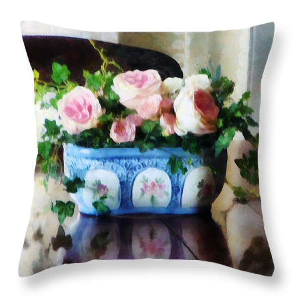 Pink Roses And Ivy Throw Pillow by Susan Savad