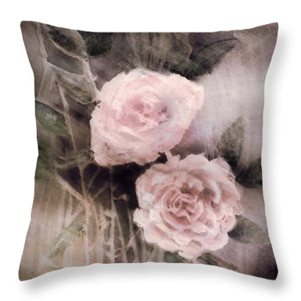 Pink Roses Throw Pillow by Arline Wagner