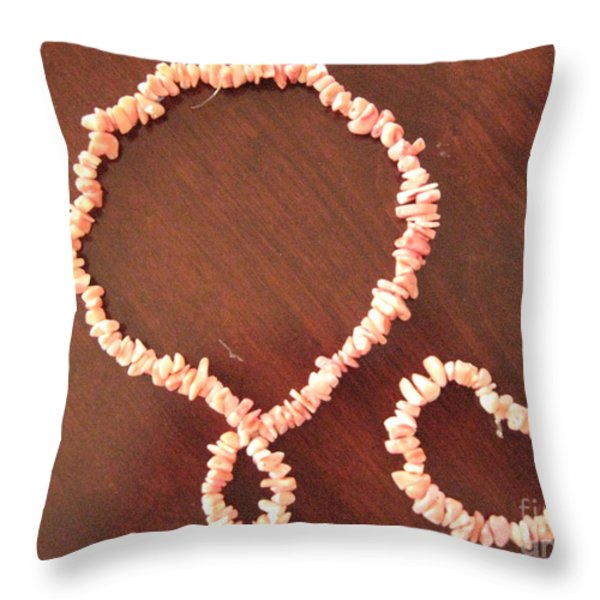 Pink Stone Necklace Bracelet Throw Pillow by Sonali Gangane