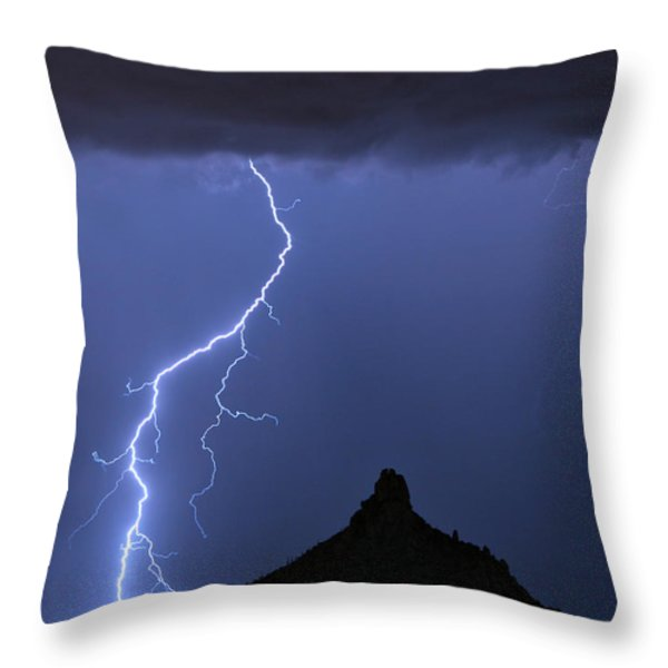 Pinnacle Peak Lightning  Throw Pillow by James BO  Insogna