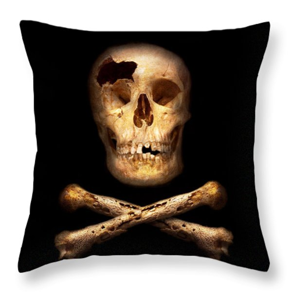 Pirate - Pirate Flag - I'm a mighty pirate Throw Pillow by Mike Savad