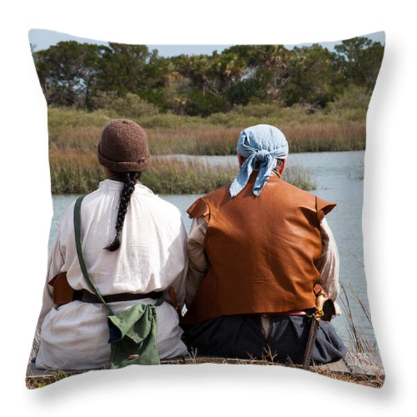 Pirate Couple Throw Pillow by Kenneth Albin