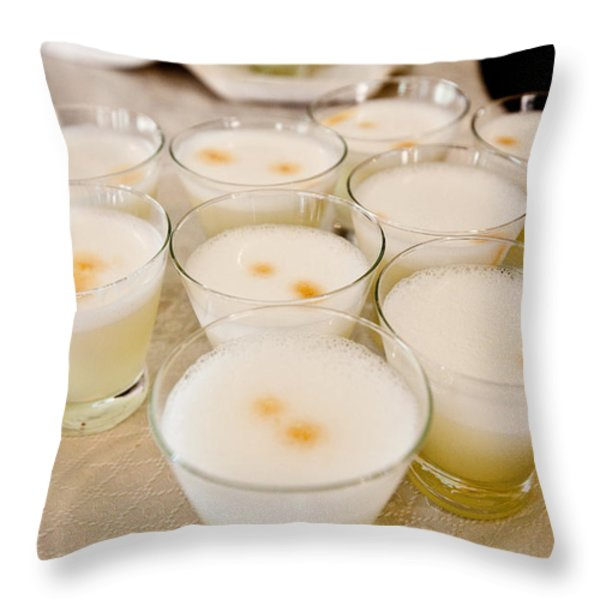 Pisco Sours Are Served By Peru Rail Throw Pillow by Michael &Amp Jennifer Lewis