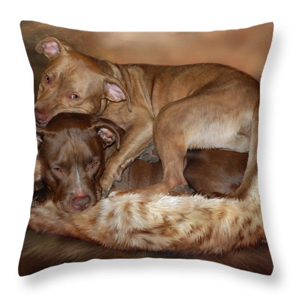 Pitbulls - The Softer Side Throw Pillow by Carol Cavalaris