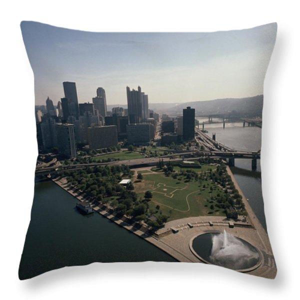 Pittsburgh And The Confluence Throw Pillow by Lynn Johnson