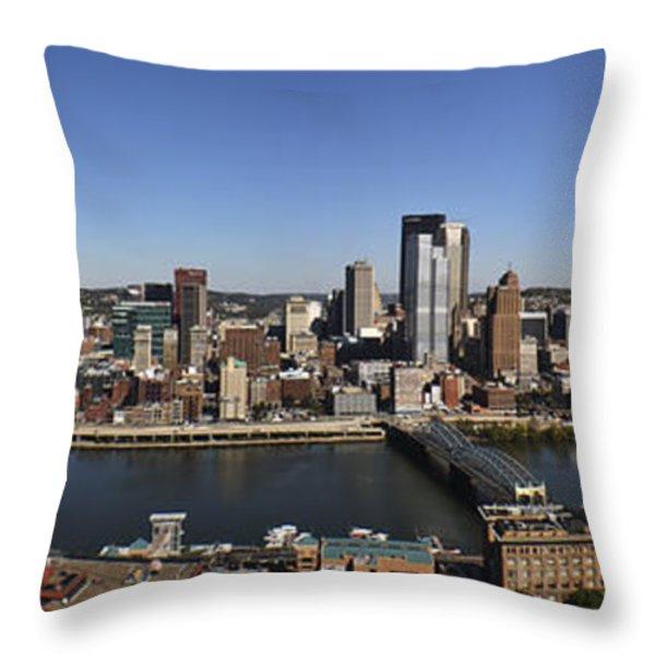 Pittsburgh Panoramic Throw Pillow by Teresa Mucha