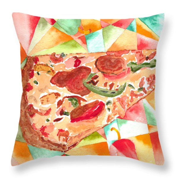 Pizza Pizza Throw Pillow by Paula Ayers