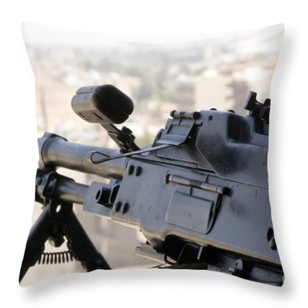 Pkm 7.62 Machine Gun Nest On Top Throw Pillow by Terry Moore