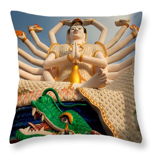 Plai Laem Buddha Throw Pillow by Adrian Evans