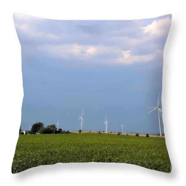 Plains Wind Farm Throw Pillow by Alan Look