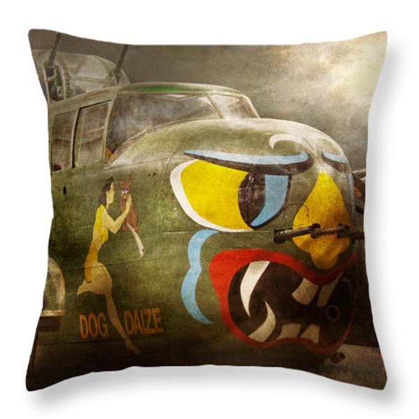 Plane - Pilot - Airforce - Dog Daize Throw Pillow by Mike Savad