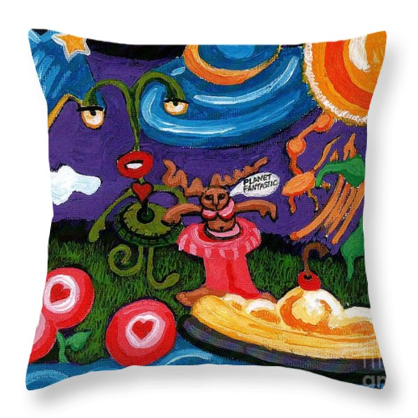 Planet Fantastic Throw Pillow by Genevieve Esson