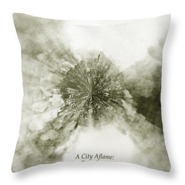 Planet Wee San Fransisco 1906 Fire Throw Pillow by Nikki Marie Smith
