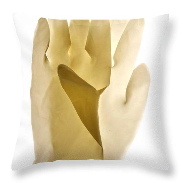 Plastic gloves Throw Pillow by BERNARD JAUBERT