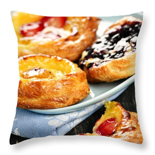 Plate Of Fruit Danishes Throw Pillow by Elena Elisseeva