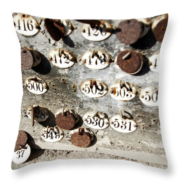 Plates with Numbers Throw Pillow by Carlos Caetano