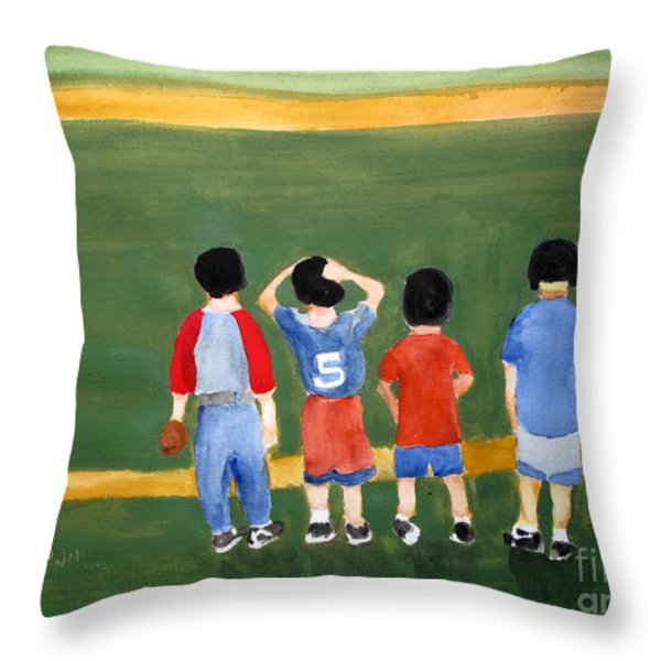 Play Ball Throw Pillow by Sandy McIntire