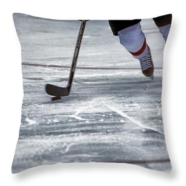 Player and Puck Throw Pillow by Karol  Livote