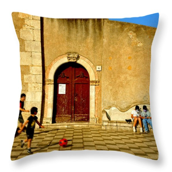 Playing in Taormina Throw Pillow by Silvia Ganora