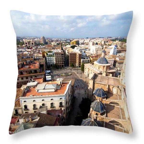 Plaza de la Virgen Throw Pillow by Fabrizio Troiani