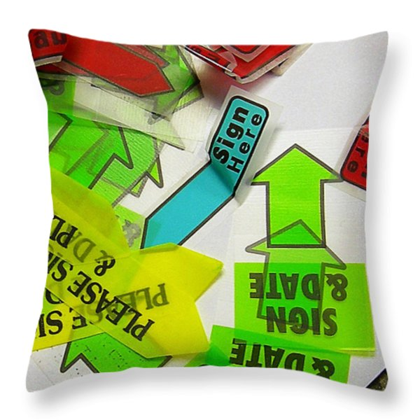 Please Sign Here Throw Pillow by Judi Bagwell