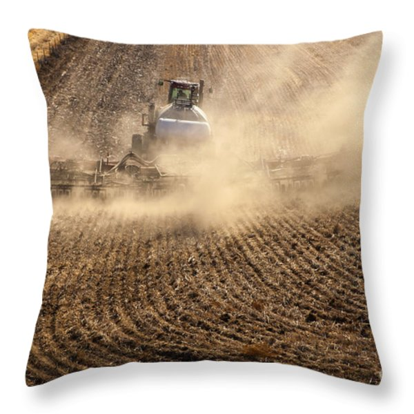 Plowing The Ground Throw Pillow by Mike  Dawson
