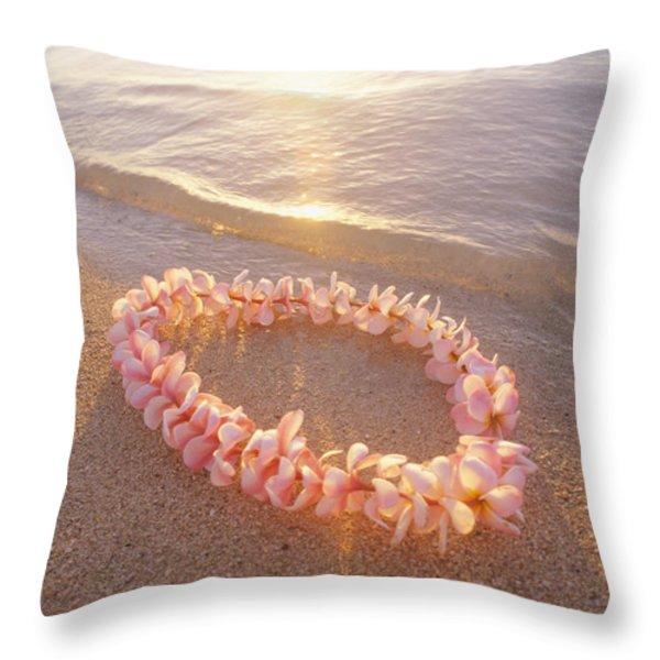 Plumeria Lei Shoreline Throw Pillow by Mary Van de Ven - Printscapes