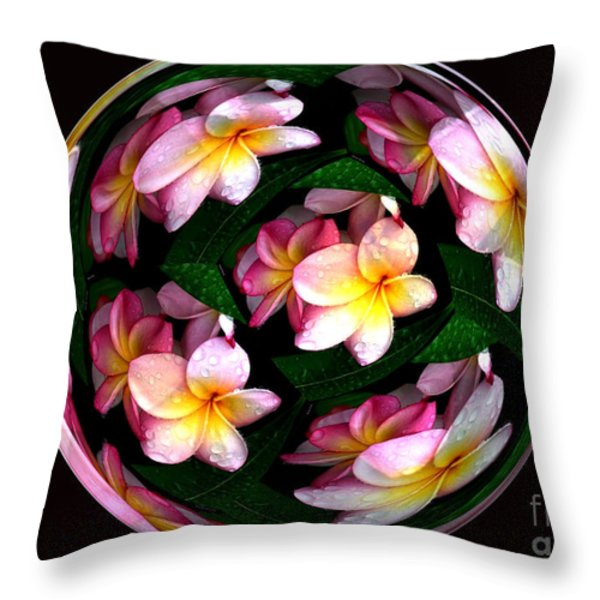 Plumeria Tile Ball Throw Pillow by Cheryl Young