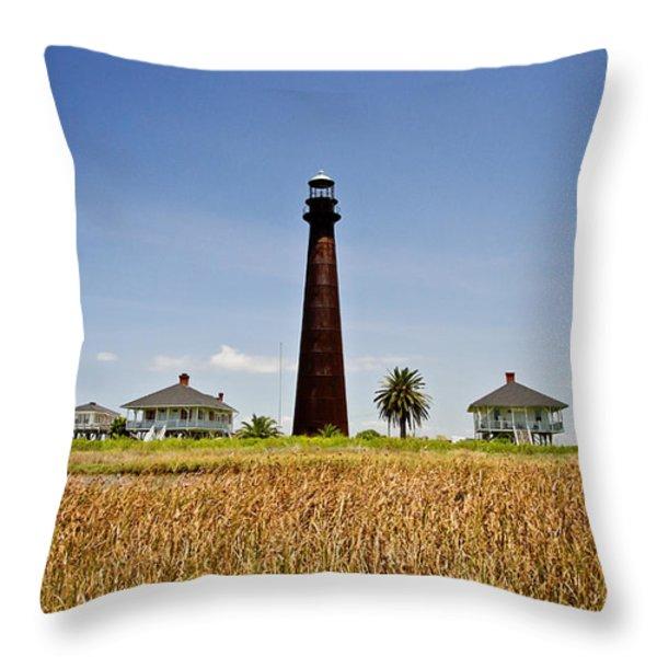 Point Bolivar Lighthouse Throw Pillow by Scott Pellegrin