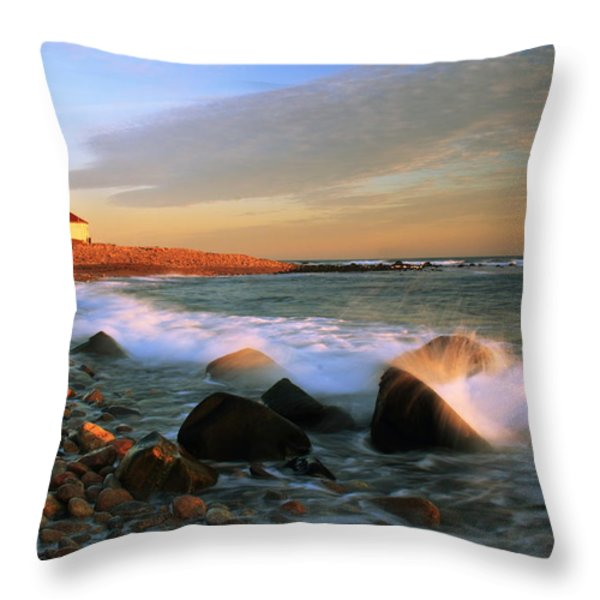 Point Judith Lighthouse Seascape Throw Pillow by Roupen  Baker