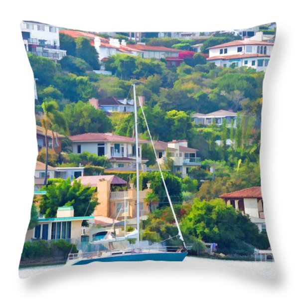 Point Loma Harbor Side Throw Pillow by L J Oakes