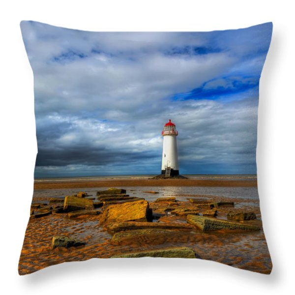 point of ayr beach Throw Pillow by Adrian Evans