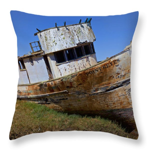 Point Reyes beached boat Throw Pillow by Garry Gay