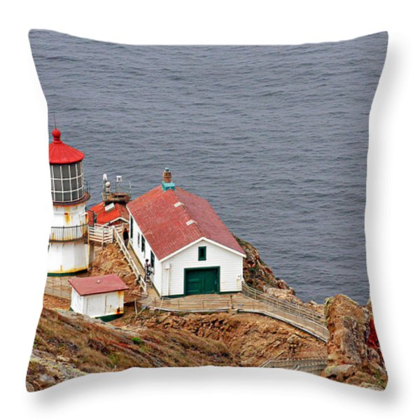 Point Reyes Lighthouse Ca Throw Pillow by Christine Till
