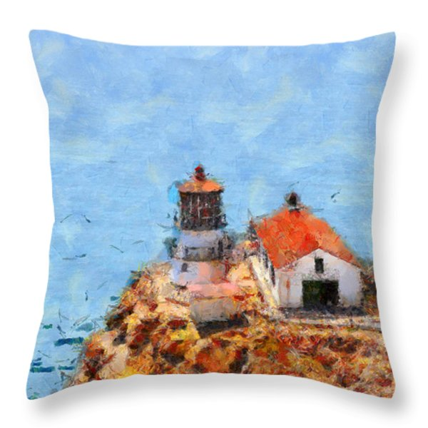 Point Reyes Lighthouse In California . 7d15989 Throw Pillow by Wingsdomain Art and Photography