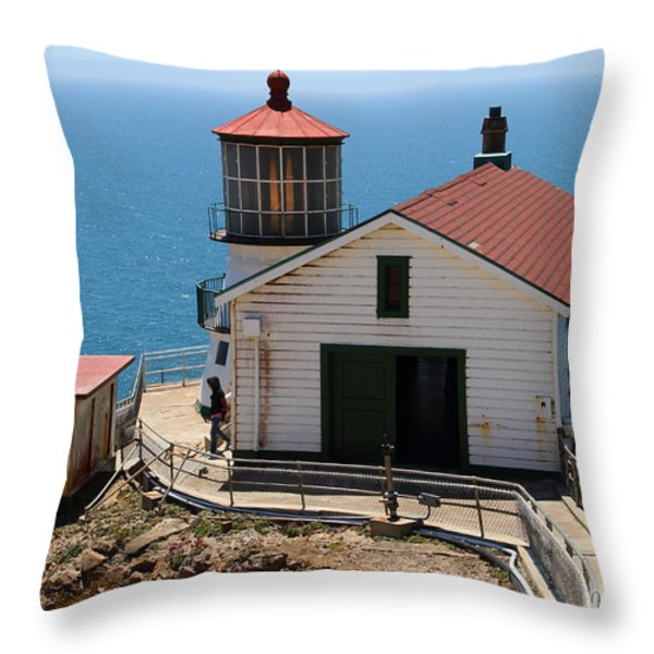 Point Reyes Lighthouse In California 7d15997 Throw Pillow by Wingsdomain Art and Photography
