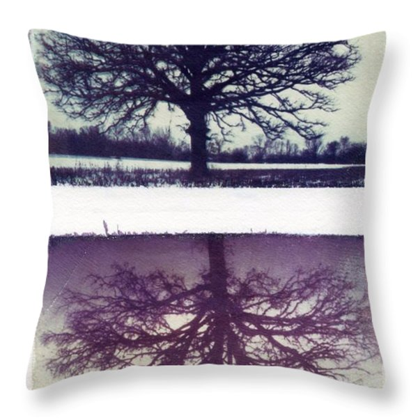 Polaroid Transfer Tree Throw Pillow by Jane Linders
