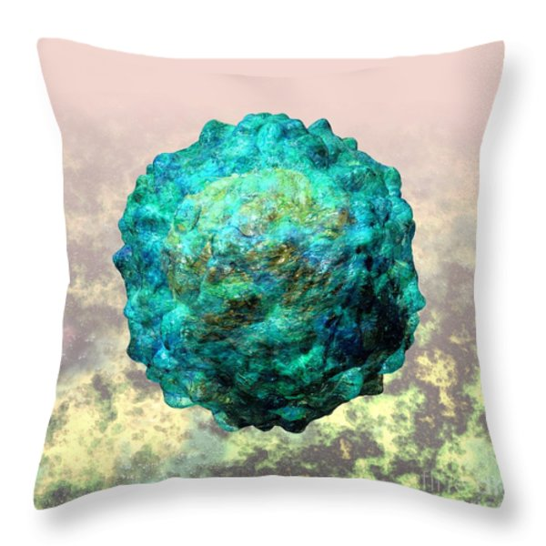 Polio Virus Particle Or Virion Poliovirus 1 Throw Pillow by Russell Kightley