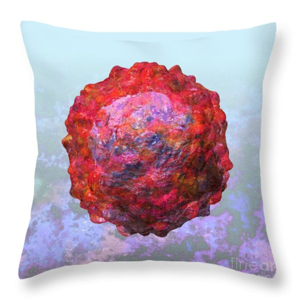 Polio virus particle or virion poliovirus 2 Throw Pillow by Russell Kightley