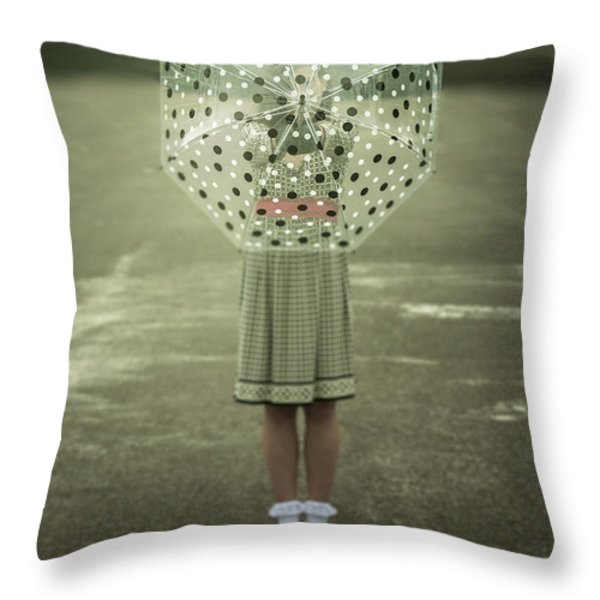 Polka Dotted Umbrella Throw Pillow by Joana Kruse